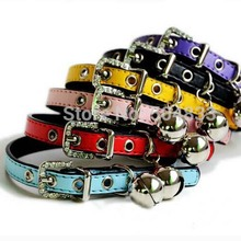 candy color Pu cat collars with bell kitten puppy collar with bling buckle XS for chihuahua poddle(China (Mainland))