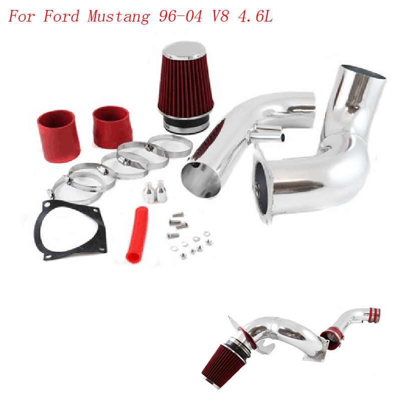 Air Intake pipe kit Racing Car for Ford Mustang 96-04 V8 4.6L Cold Air Intake Black & Chrome with 3.5 inch red Air Filter(China (Mainland))