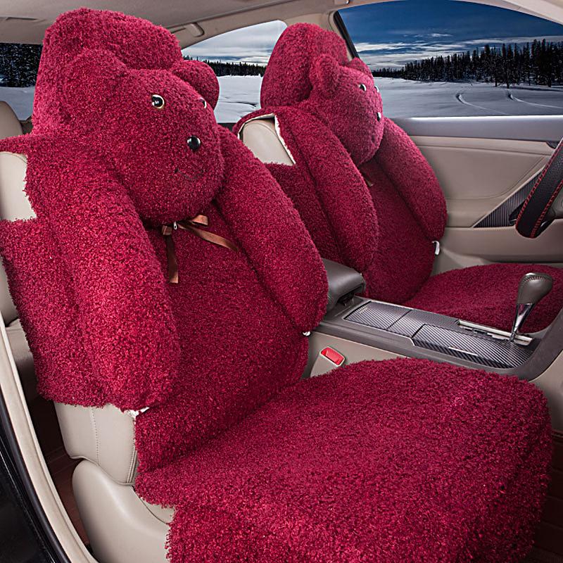 5 pcs Cartoon Bear car seat covers faux fur cute car interior accessories cushion styling winter new plush car pad seat cover(China (Mainland))