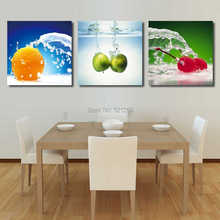 Modern Wall Art Home Decoration Printed Oil Painting Pictures No Frame 3 Piece Energetic Fruits in Water Dinning Room Prints Art(China (Mainland))