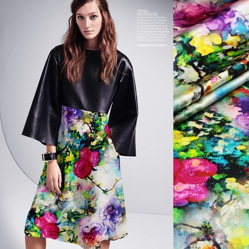 2015 New pure silk fabric cloth fabrics sewing dress digital inkjet printing heavy stretch satin tea millet unfinished - Sanni Silk store