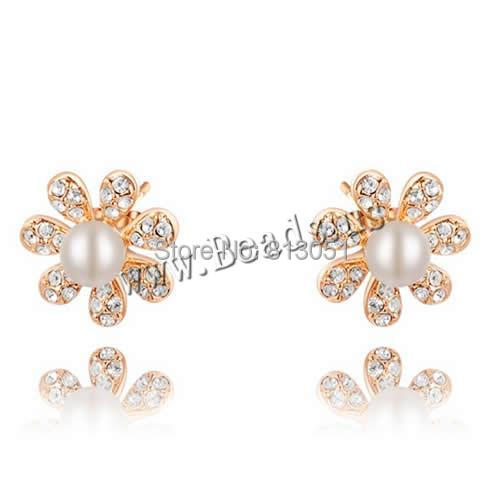 Free shipping!!!Zinc Alloy Stud Earring,Women Jewelry, with Glass Pearl, brass post pin, Flower, real rose gold plated<br><br>Aliexpress