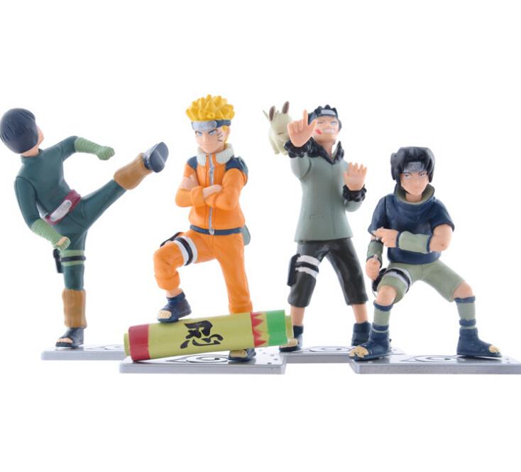 4pcs/set J.G Chen Anime Naruto Uzumaki Naruto Uchiha Sasuke Rock Lee Inuzuka Kiba PVC Action Figure Collectible Model Toys Dolls(China (Mainland))