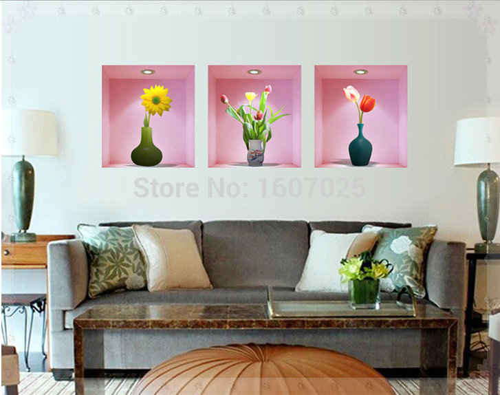 30 33cm 2015 new flower vase 3d wall stickers vintage home for Home decorations wholesale