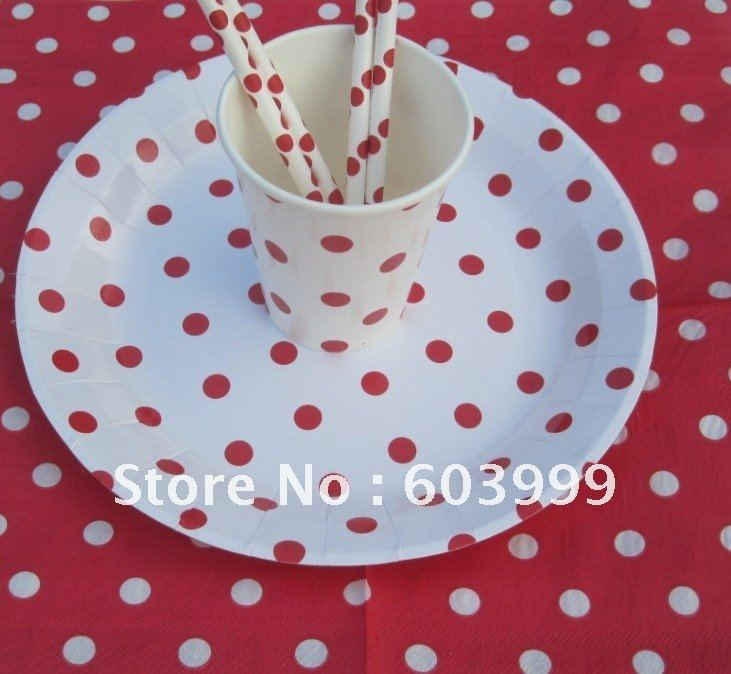 240x red and white polka dot party supplies partyware