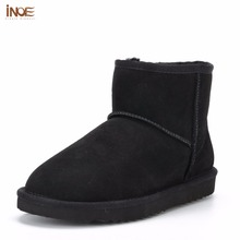 INOE Classic sheepskin leather real sheep fur lined winter short ankle suede snow boots for women winter shoes flats black brown(China (Mainland))