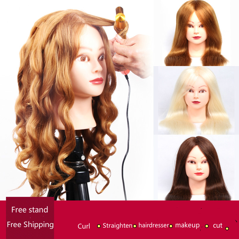 professional hair styling head manikin head with human hair hairdressing mannequins 85%real hair mannequin head hairdresser head(China (Mainland))