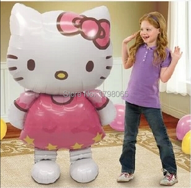 116*65cm big Oversized cartoon Hello Kitty Cat inflatable foil balloons birthday party decoration kids gifts balls Classic toys(China (Mainland))