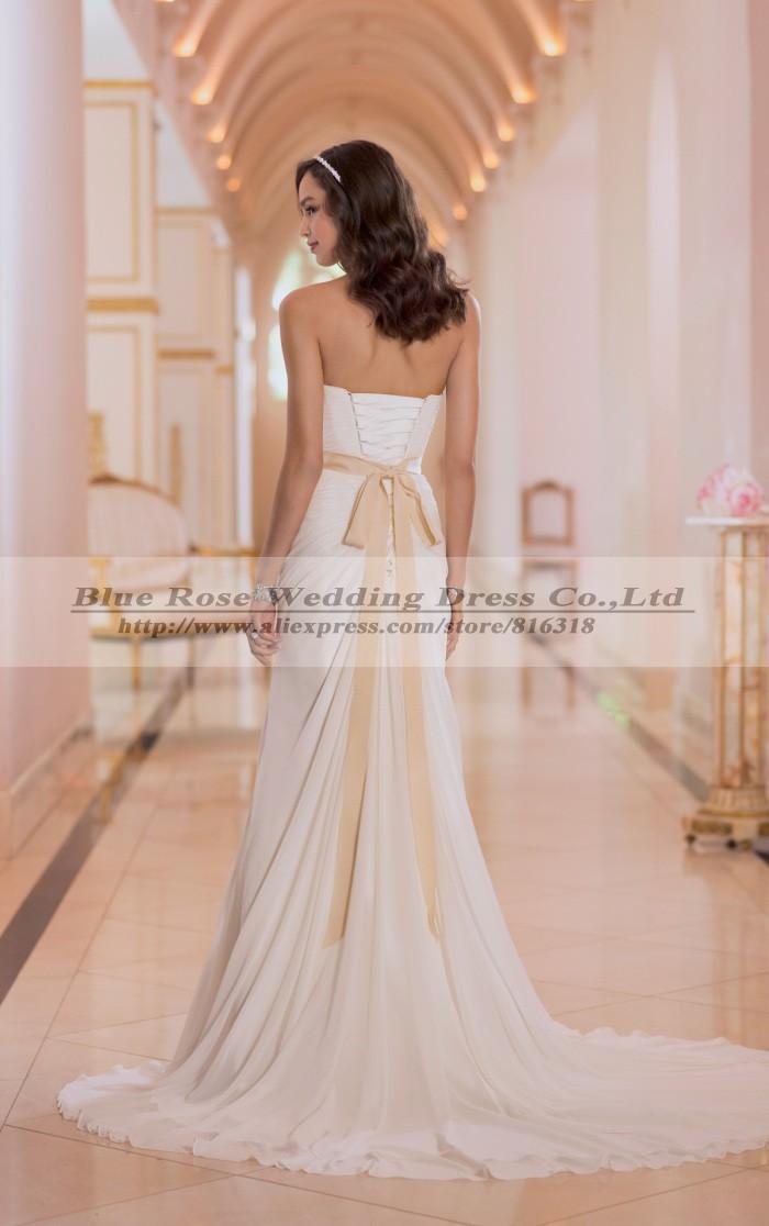 Buy vestido de noiva 2016 chiffon boho for Simple wedding dresses under 100