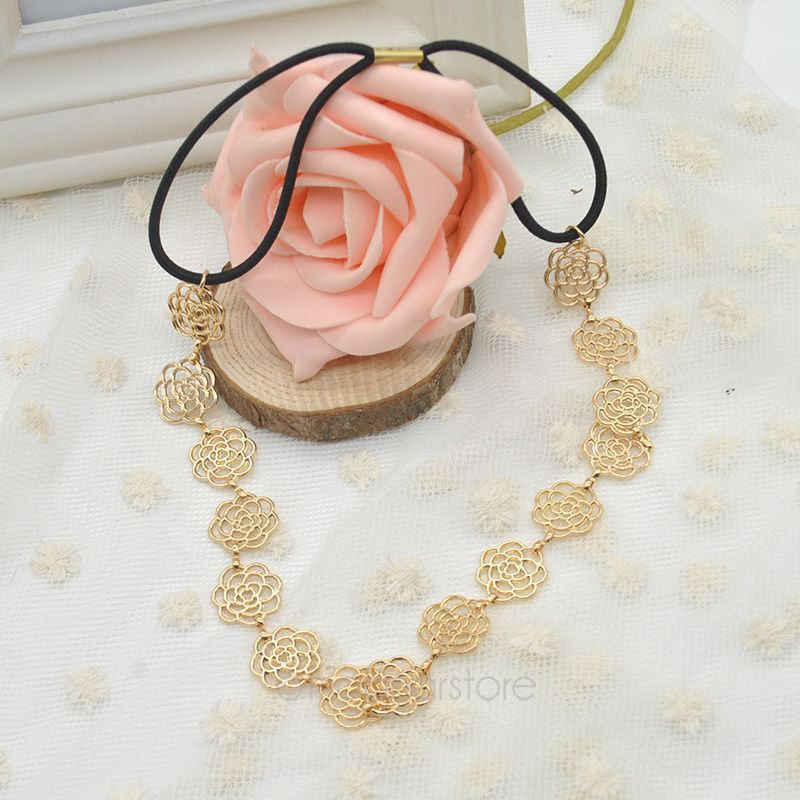 2015 New Fashion Women Hollow Out Rose Flower Elastic Hairbands Hair Band Headbands Women Hair Accessories(China (Mainland))