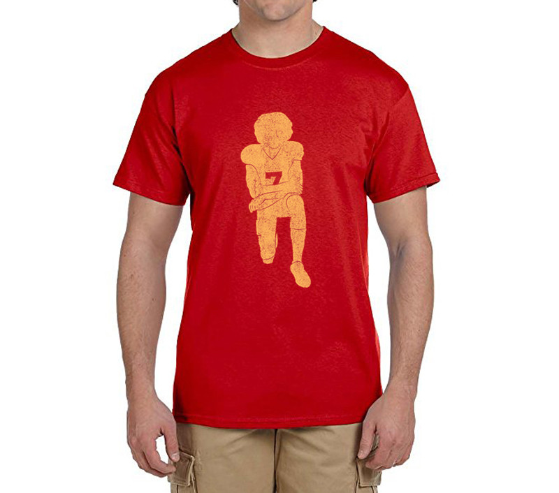 Hot Colin Kaepernick Kneeling Anthem Flag Protest 100% cotton t shirts Mens gift T-shirts for 49ers fans 0214-14(China (Mainland))