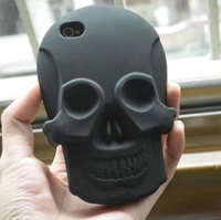 3D PC Silicon Soft Silicone Fashion Ghost Devil Head Ghost Skull Bronze Case Cover For Apple iPhone 5 5G 5S