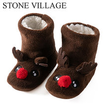 ילדים בנות בני חג המולד פתית שלג נעל נעלי קריטר ילדים הנעל נעל חורף בית אתחול גרבי 2-7 בת(China)