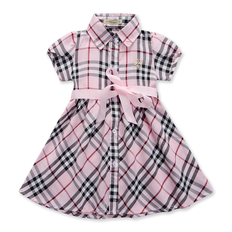 Children's Clothing Baby Girl's Ribons Dress 2016 New England Style Summer Grid Cotton Wear Kids Princess Short Sleeves Dress(China (Mainland))