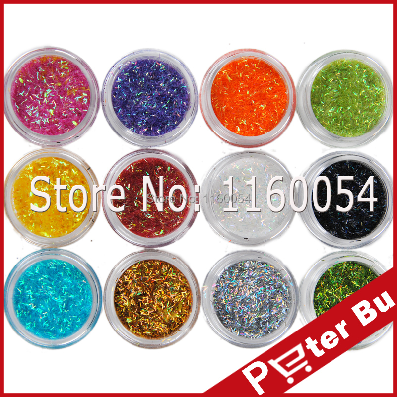 12 pcs nail Strap Glitter Powder Dust Acrylic Power Shiny Nail Art Decoration set 6-003#(China (Mainland))