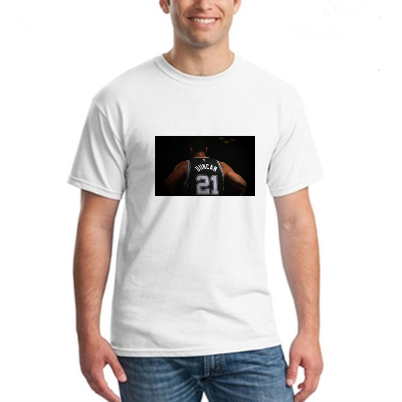 Tim Duncan men white t shirts short sleeve mens off white shirt basketabll jersey discount sports tee drop shipping accepted(China (Mainland))