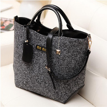 2016New Fashion Famous Brand Women Bucket Retro Leather Handbag Woolen Design Shoulder bag for ladies Female Tote Bags LJ600