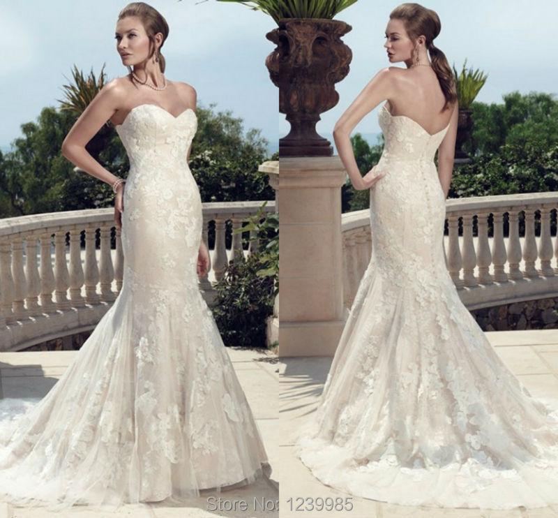 Casablanca wedding dress 2015 charming mermaid lace for Casablanca lace wedding dress