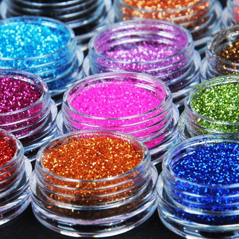 1Piece 12 Color Metal Glitter Nail Art Tool Kit Acrylic UV Powder Dust gem Polish Nail Tools (Random Color)(China (Mainland))