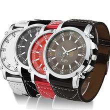 Min. 16 New Fashion Luminous Men Watches Male Faux Leather Oversized Quartz Hands Wrist Watch Vintage Style Wristwatch 0256