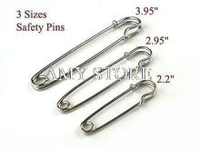 2 sets(6pcs) Large Safety Pin,3 Size Kilt/Skirt Pin,Silver Color,3.95/2.95/2.2″,Stitch holder