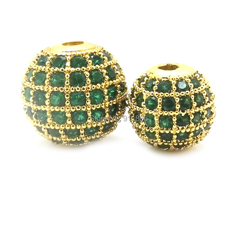 6 8 10 12 14 16 MM Pick Size 18k Gold Beads Micro Pave Emeral Green Cubic Zirconia Round Bead For Jewelry Making Spacer Bead(China (Mainland))