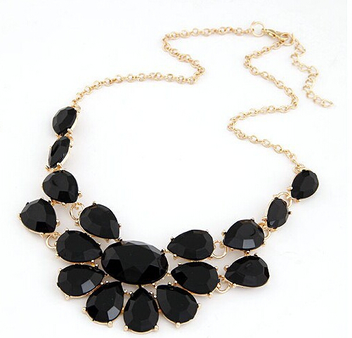 Fashion lady Banquet Accessories Maxi Colares acrylic gem choker necklace Pendant Choker Charm Statement Retro Necklaces B0746(China (Mainland))