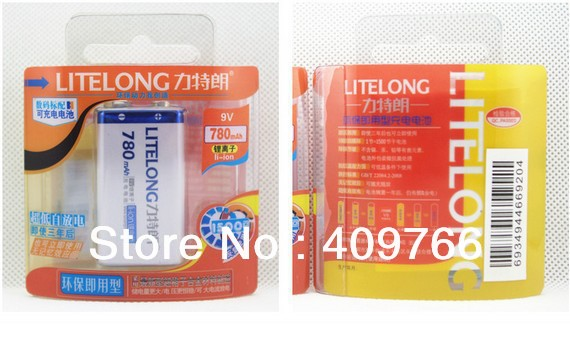 2PCS/LOT New 780mAh 9v li-ion lithium Rechargeable 9V Battery for mike Manufacturer's 3 Years Warranty Free Shipping(China (Mainland))