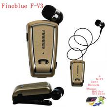 Fineblue F-V3 Conductor Auricular Bluetooth Mini Wireless Fone Auriculares Estéreo Correr Auriculares Retráctil Clip de Audifonos para Gimnasio