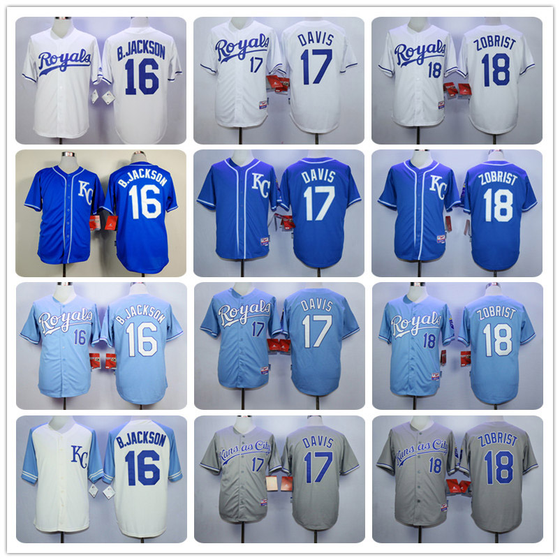 New men's KC High Quality 16 Bo Jackson 18 Ben Zobrist Throwback Jerseys color blue gray white Free shipping(China (Mainland))