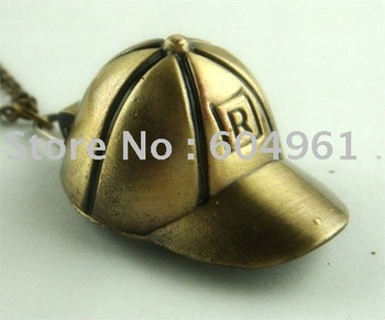 Wholesale and retail Fashion Top Bronze Fashion Hat Pocket Watch Necklace Pendant J0133