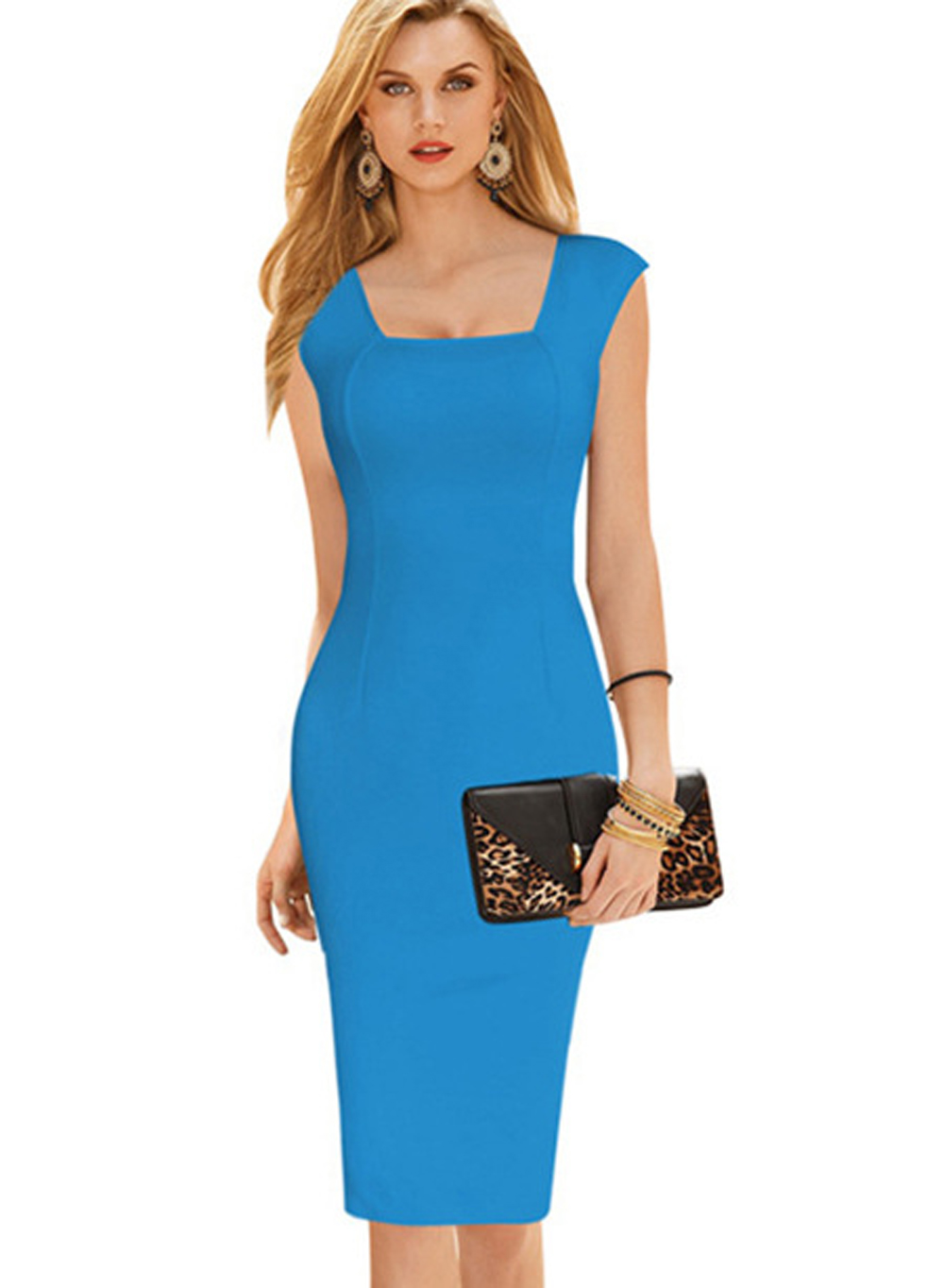 Women Square Collar Pencil Dresses 2016 Summer New Lady Pink Yellow Blue Black Sleeveless Back V Sheath Knee Length Formal Dress(China (Mainland))