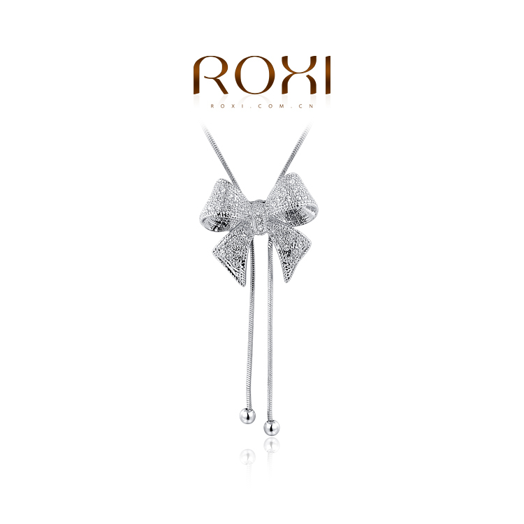 ROXI European American best selling white gold plated bow women crystal sweater chian necklaces (2colors brown) - international trading LTD ( and retail store)