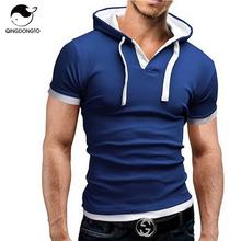 Estilingue do T dos homens Camisa 2016 Moda Verão Com Capuz Curto-de Mangas Compridas T Camisa Masculina T-Shirt Esportes Masculino Magro Camiseta Homme 4XL