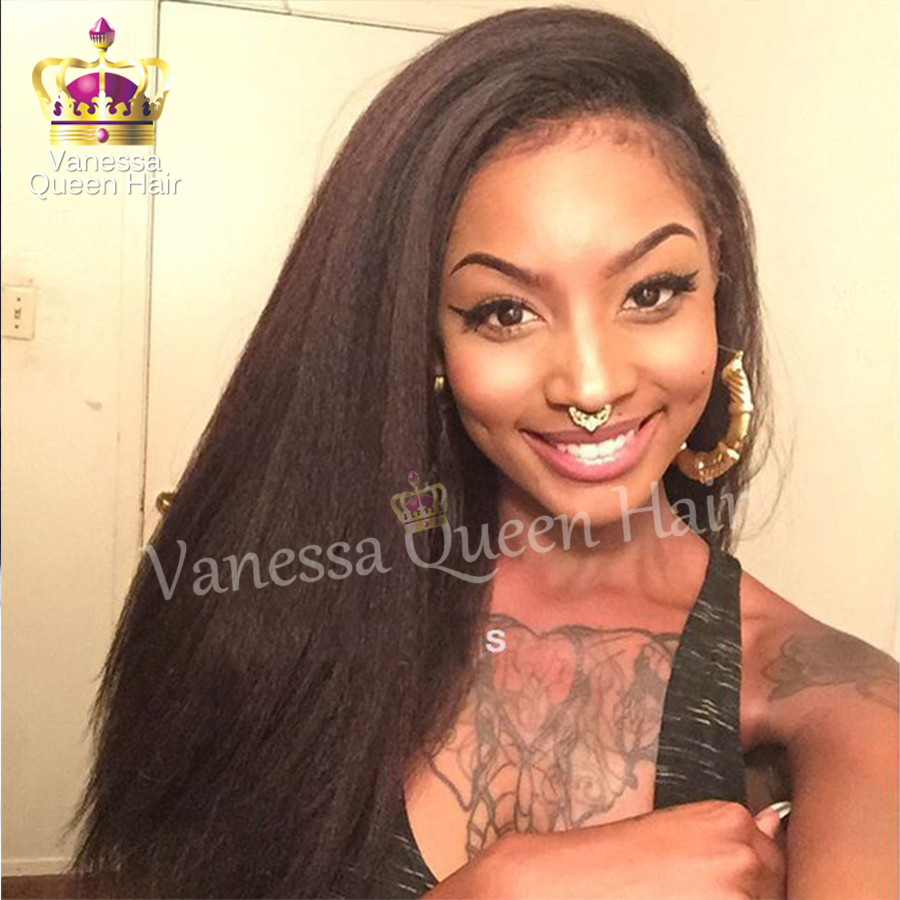 Yaki Straight Natural Color With Baby Hair Heat Resistant Synthetic Lace Front Wigs Wholesale For Black Women Hot Selling
