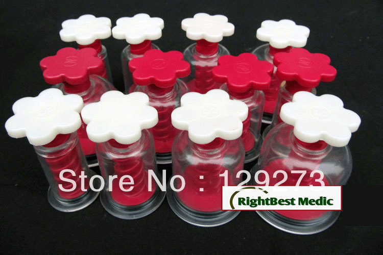 FREE SHIPPING - Twist Top/Rotary Magnetic Vacuum Cupping Therapy Set - 12 Cups Chinese Cupping Massage(China (Mainland))