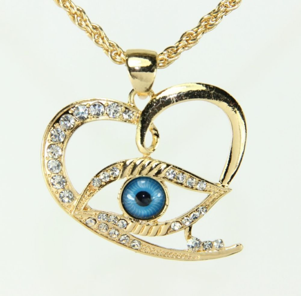 Women Gifts!Fashion Sweet Heart Pendant Rhinestone Necklace Turkey Evil Eye 18K Gold Plated Chain - Small Kiss Jewelry Store Min Order Is $10 store