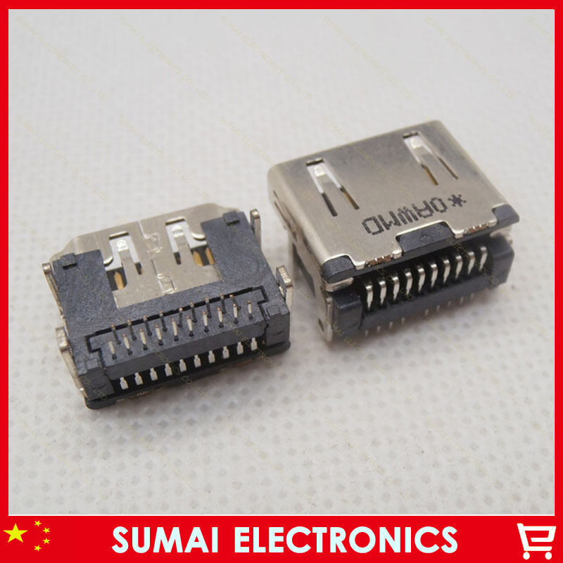 30pcs/lot 19pin HDMI female Jack Connector VGA Connector two rows of pin 90 Degree(China (Mainland))
