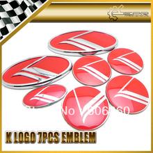 New Arrival For Kia K Logo Optima Optima 7pcs Type B Red Emblem / Front Emblem + Rear Emblem + 4 Wheel Cap(China (Mainland))