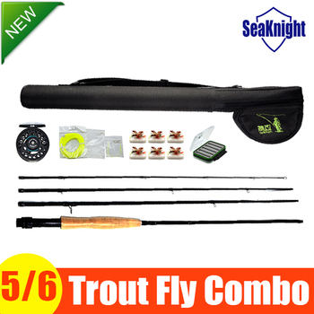 High Quality Trout Fly Rod Combo Kits Model 5/6 include High Carbon Rod Case Aluminium Reel fly Line Gifts