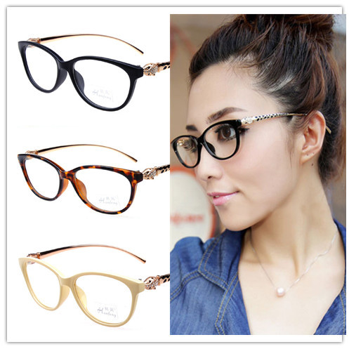 Fashion Cheetah Earstems Glasses Frames Women Ladies Leopard Decorative Reading Glasses Frames