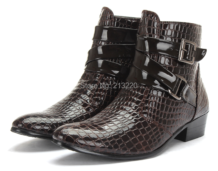 new casual men martin boots pointed toe male fashion blazer soft snake skin pattern leather shoes EUR 39-44 low media high top<br><br>Aliexpress