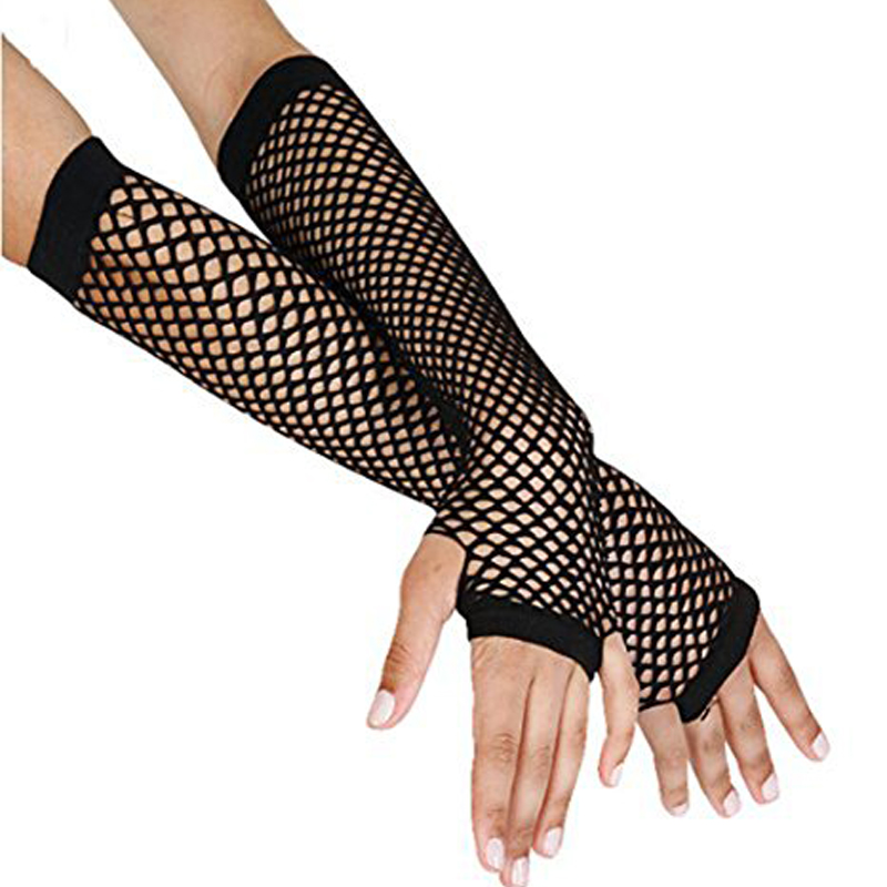 Stylish Delicate Long Black Fishnet Gloves Womens Fingerless Gloves Girls Dance Gothic Punk Rock Costume Fancy Dress Party Hot(China (Mainland))