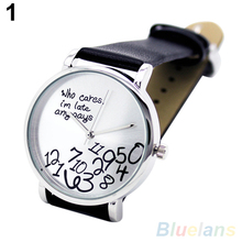 Women s Men s Who Cares Faux Leather Arabic Numerals Letters Printed Wrist Watch