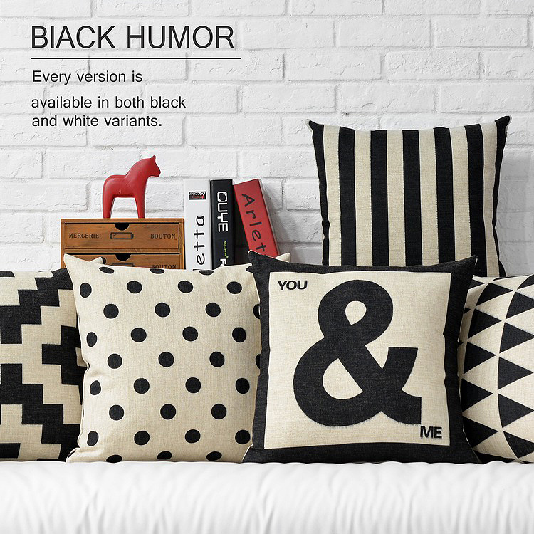 black and white and contemporary and contracted retro letters cotton and linen hold pillow cushion for