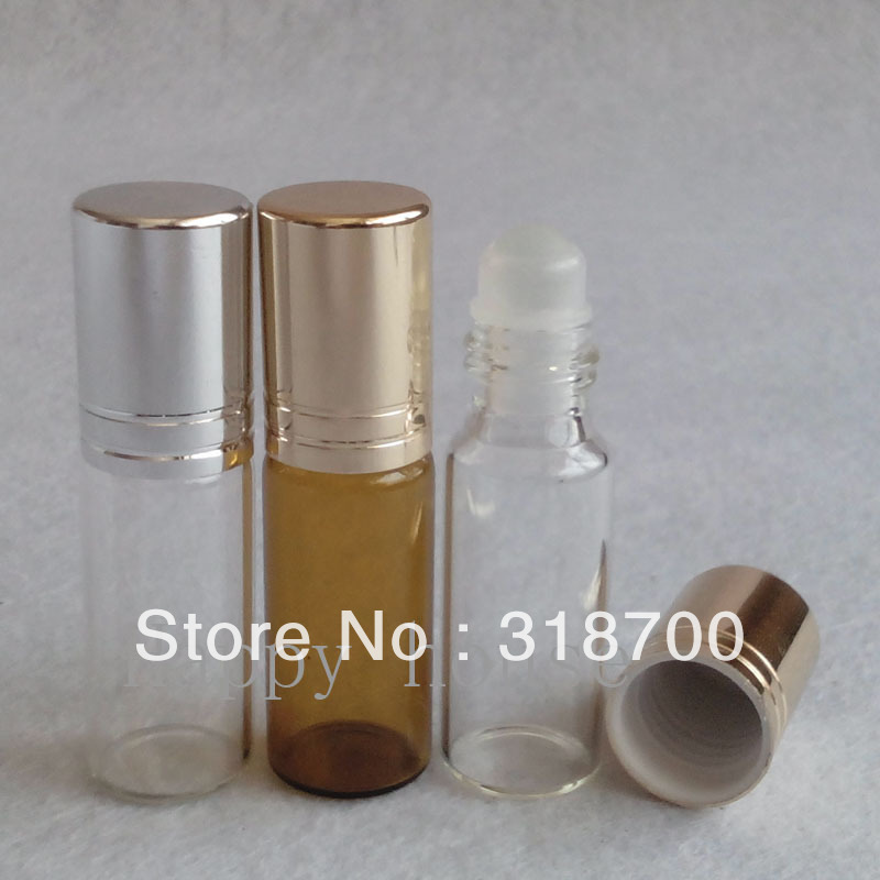 Free shipping -300/lot  5ml Empty  Amber Glass Perfume Roll On Bottle,5cc Glass Roll-on bottle, Essential Oil Bottle