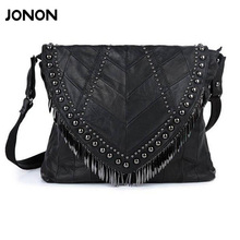Buy All-match Genuine Leather Women Handbags Designer Tassel Female Shoulder Bags Rivet Bag Woman Crossbody Bag Studs Ladies for $27.53 in AliExpress store