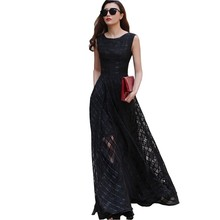 2016 New Summer Women Dress Sleeveless Maxi Beach Long Dress Floor Length Plaid Sundress Elegant Plus Size Vestido Y0008