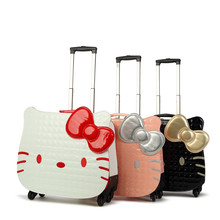 18 Inch Hello Kitty Cartoon trolley Suitcase Luggage Pull Rod Hello kitty luggage case box for Women Girl Children Kids(China (Mainland))