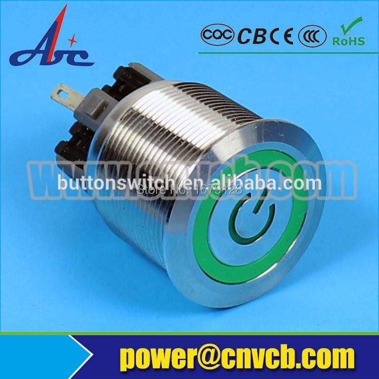 2218F momentary 22mm IK10 waterproof LED 3V ring and power logo pushbutton switch(China (Mainland))